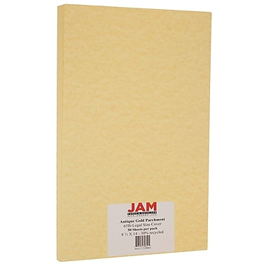 JAM Paper® Parchment Legal Cardstock, 8.5 x 14, 65lb Antique Gold Yellow Recycled, 50/Pack (17128864)
