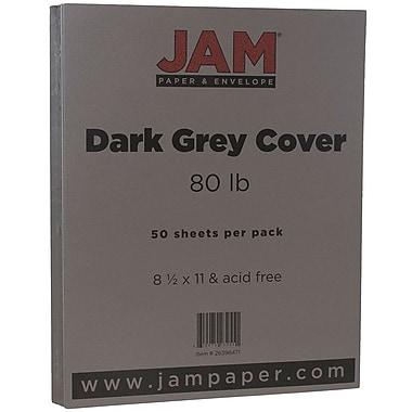 JAM Paper® Matte Cardstock, 8.5 x 11, 80lb Dark Grey, 50/Pack (26396471)