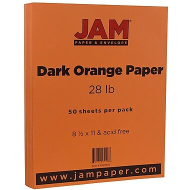 JAM Paper® Matte Paper, 8.5 x 11, 28lb Dark Orange, 50/pack (61511370)