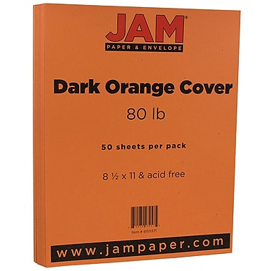 JAM Paper® Matte Cardstock, 8.5 x 11, 80lb Dark Orange, 50/Pack (61511371)