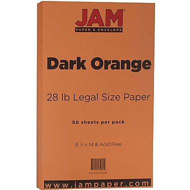 JAM Paper® Matte Legal Paper, 8.5 x 14, 28lb Dark Orange, 50/Pack (64429480)