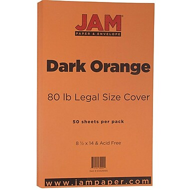 JAM Paper® Matte Legal Cardstock, 8.5 x 14, 80lb Dark Orange, 50/Pack (64429485)