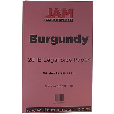 JAM Paper® Matte Legal Paper, 8.5 x 14, 28lb Burgundy, 50/Pack (64429490)