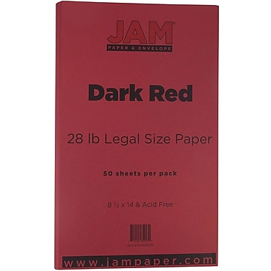 JAM Paper® Matte Legal Paper, 8.5 x 14, 28lb Dark Red, 50/Pack (64429520)