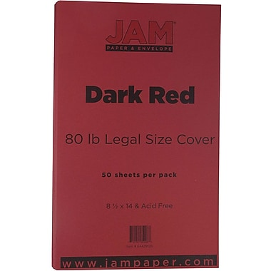 JAM Paper® Matte Legal Cardstock, 8.5 x 14, 80lb Dark Red, 50/Pack (64429525)