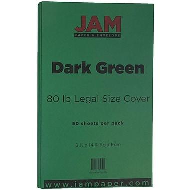 JAM Paper - Papier cartonné mat format légal, 8,5 x 14 po, 80 lb, vert foncé, 50/paquet (64429556)