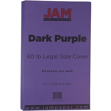 JAM Paper® Matte Legal Cardstock, 8.5 x 14, 80lb Dark Purple, 50/Pack (64429566)