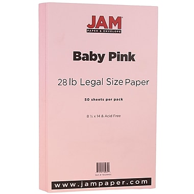 JAM Paper® Matte Legal Paper, 8.5 x 14, 28lb Baby Pink, 50/Pack (76329455)