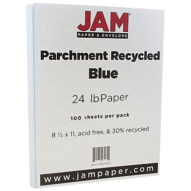 JAM Paper® Parchment Paper, 8.5 x 11, 24lb Blue Recycled, 100/pack (96600200)