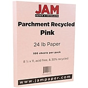 JAM Paper® Parchment 24lb Paper, 8.5 x 11, Pink Recycled, 100 Sheets/Pack (96600900)