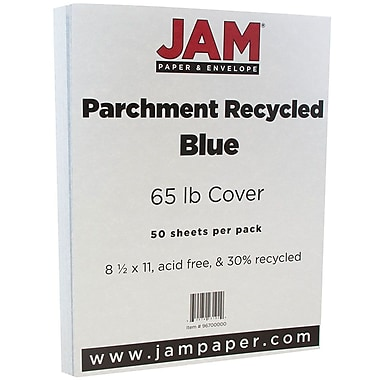 JAM Paper® Parchment Cardstock, 8.5 x 11, 65lb Blue Recycled, 50/pack (96700000)