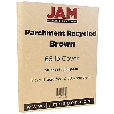JAM Paper® Parchment Cardstock, 8.5 x 11, 65lb Brown Recycled, 50/pack (96700100)