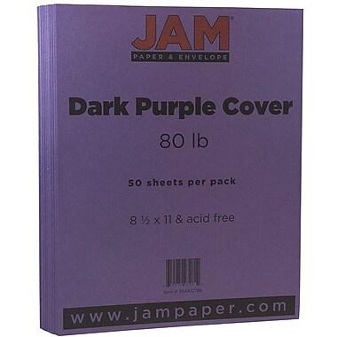 JAM Paper® Matte Cardstock, 8.5 x 11, 80lb Dark Purple, 50/Pack (364412786)