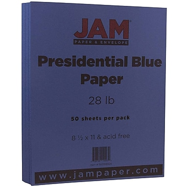 JAM Paper® Matte Paper, 8.5 x 11, 28lb Presidential Blue, 50/pack (563916924)