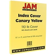 JAM Paper® Vellum Bristol 110lb Index Colored Cardstock, 8.5 x 11 Coverstock, Canary Yellow, 50 Sheets/Pack (816917020)