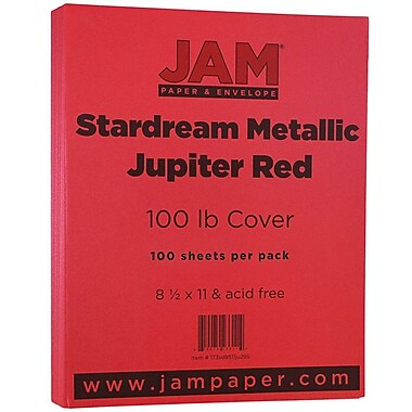 JAM Paper® Metallic Cardstock, 8.5 x 11, 110lb Stardream Metallic Jupiter Red, 50/pack (173SD8511JU285)