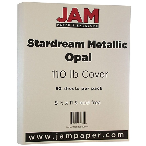 JAM Paper® Metallic 110lb Colored Cardstock, 8.5 x 11, Opal Ivory Stardream, 50 Sheets/Pack (173SD8511OP285)