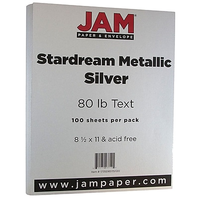 """""JAM Paper Metallic Paper - 8.5"""""""" x 11"""""""" - 32lb Silver Stardream Metallic - 100/pack"""""" 263380"