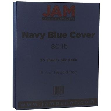 JAM Paper® Matte Cardstock, 8.5 x 11, 80lb Navy Blue, 50/Pack (LEBA242)