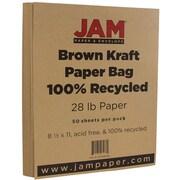 JAM Paper® Matte Paper, 8.5 x 11, 28lb Brown Kraft Paper Bag Recycled, 50/pack (LEKR36926)
