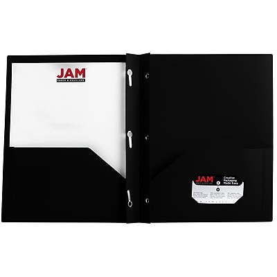 JAM Paper® Plastic Eco Two Pocket Clasp School Folders with Prong Clip Fasteners, Black, 96/pack (382ECBLB)