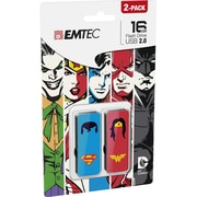 Emtec Superhero 16GB USB 2.0 Flash Drive, Assorted Designs, 2 Pack (ECMMD16GM700SHP2)