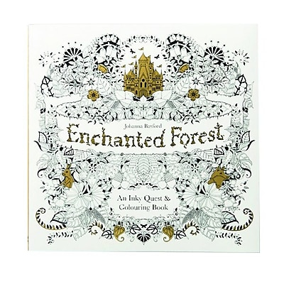 """""""Enchanted Forest : An Inky Quest & Coloring"""" Paperback Book"""
