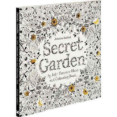"""Secret Garden: An Inky Treasure Hunt and Coloring"" Paperback Book"