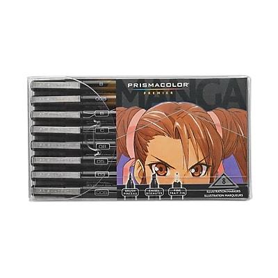 Prismacolor® Premier Manga Illustration Marker, Black, 8/Pack