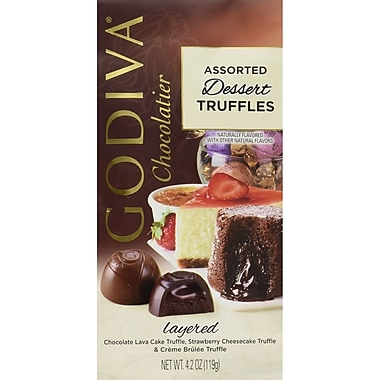 Godiva® Wrapped Dessert Truffles, 4.2 oz., Chocolate Lava Cake/Strawberry Cheesecake/Creme Brulee (GADT6)