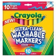 Crayola® Broad Line Ultra Clean Washable Marker, Assorted, 10/Pack (58-7855)