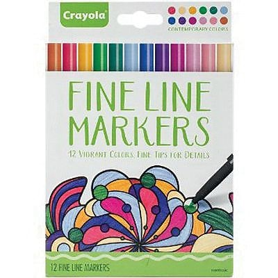 Crayola® Fine Line Contemporary Marker, Assorted, 12/Pack