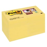 """Post-it® Super Sticky Notes, 2"""" x 2"""", Canary Yellow, 12 Pads/Pack (622-12SSCY)"""