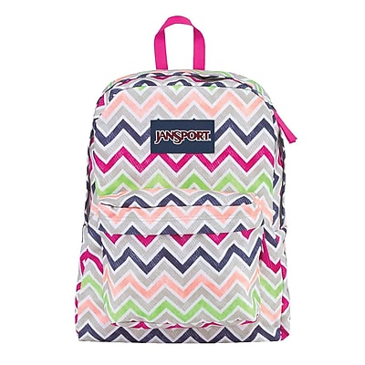 Jansport Superbreak Cyber Pink Summer Chevron Polyester Backpack (T5010ED)