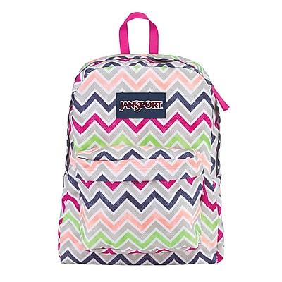 Jansport® Superbreak® Cyber Pink Summer Chevron Polyester Backpack (T5010ED)