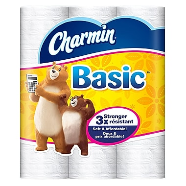 Charmin® Basic 1-Ply Toilet Paper, Double Roll, 36 Count (85990 ...