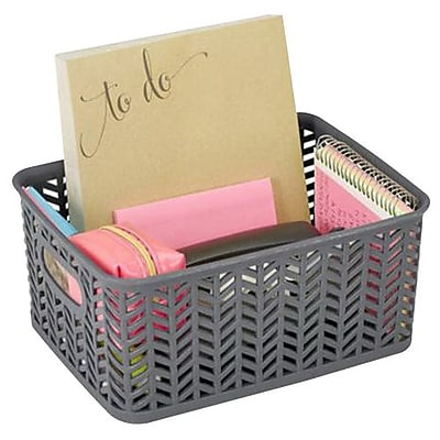 Simplify Small Resin Herringbone Storage Basket, Gray (25174)