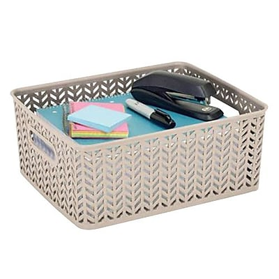 Simplify Medium Resin Herringbone Storage Basket, Ivory (25174)