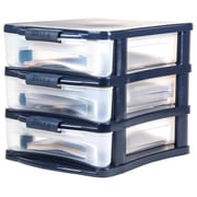 Bella Storage Solution 3-Drawer Medium Locking Desktop Organizer, Clear/Navy Blue