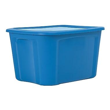 Bella Storage Solution – Bac de rangement robuste à couvercle plat, 18 gallons, bleu