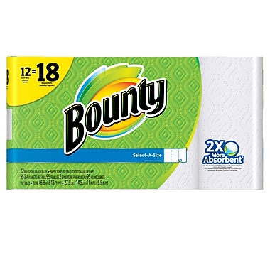 Bounty Select-A-Size Paper Towel, Giant Size, 12 Rolls/Pack (95193)