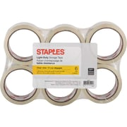 Staples® Clear View Light-Duty Packaging Tape, 48 mm x 50 m, 2.0-mil, 6/Pack
