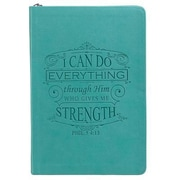 Teal Lux-Leather Journal with Zipper I Can Do, Hardcover (9781432109479)