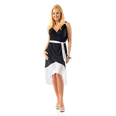 Toujours Elegant 2 Tone Dress, Black/White, Large, (4340)