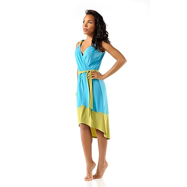 Toujours Elegant 2 Tone Dress, Turquoise/Green, Medium, (4340)