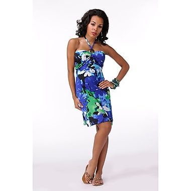 Toujours Elegant Bra Cup Dress, Blue Floral, X-Large, (4358)