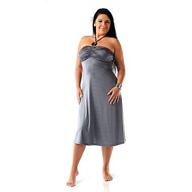 Toujours Elegant Halter Dress, Pewter, Large, (4360)