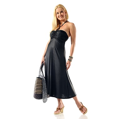 Toujours Elegant Halter Dress, Black, Medium, (4360)