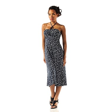 Toujours Elegant Halter Dress, Dot, Large, (4360)