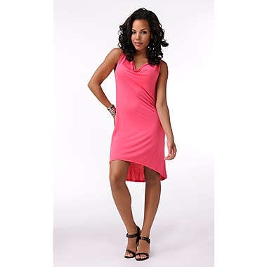 Toujours Elegant Cowl Neck Dress, Hibiscus, Small, (4381)